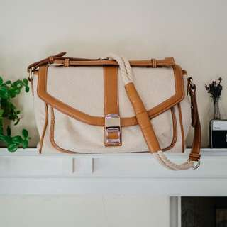 Charles & Keith Tan Leather Canvas Bag with Rope Strap