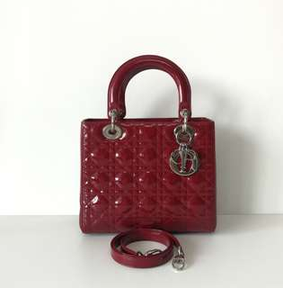 Authentic Lady Dior Medium Burgundy Patent Shw