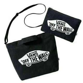 [現貨] 日本 Vans tote bag 連 筆袋 雜誌袋 手提袋 側孭袋 斜孭袋 多用途袋 三用袋 兩用袋 帆布袋 化妝袋