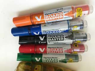 BN Pilot v board refillable whiteboard markers - all brand new
