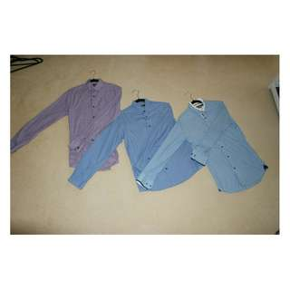 Long-Sleeve Casual Shirts Set (x3) | Small S