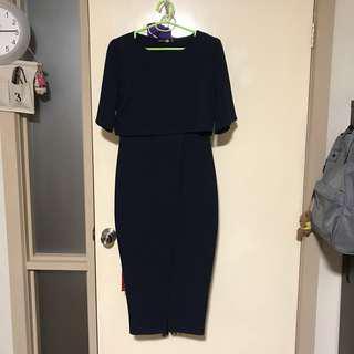 Navy split work dress