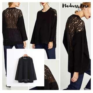 Black Mix Lace Blouse