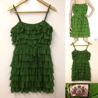 Juicy couture green ruffles layers dress size 4