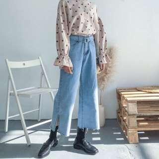 Celana fashion korea light blue