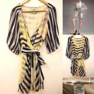 DVF blue yellow stripes silk dress size 2
