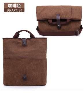 🚚 【Q夫妻】 shoulder bag 韓版 帆布包 折疊兩用  側背包 斜背包 斜跨包 手提包 休閒包 咖啡色 #B0010-4