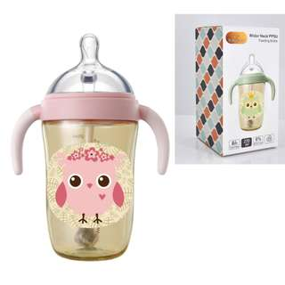270ml Pink Newborn PPSU Bottle Wide-Caliber Baby with Handle Straw