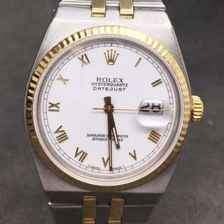 Rolex Oysterquartz Datejust Roman White Dial Men's Watch