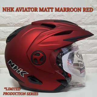 NHK Helmet MATT MARROON RED