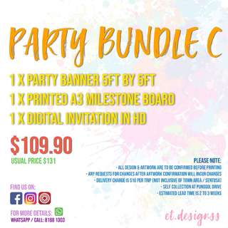 PARTY BANNER, MILESTONE BOARDS AND INVITATIONS