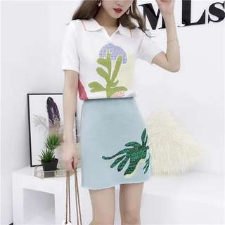 SP503 Lola Summer Knit Polo Top and Skirt Two-Piece Set