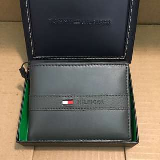 😍罕有灰色Tommy Hilfiger😍Men's Leather Wallet Grey 深灰色真皮銀包