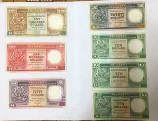 香港匯豐銀行舊版500至10蚊,一套,1987至1992年舊鈔