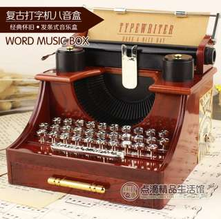 Retro typewriter clock music box creative music box Home office decoration, birthday gift