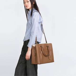ZARA OFFICE CITY BAG IN TAN