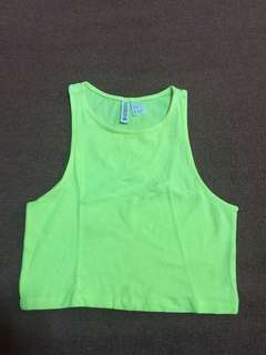 H&M neon green crop top (XS)