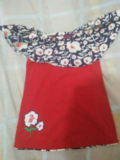 Kids Paradise Red off shoulder dress