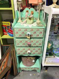 Green Shabby Chic Side Table With Drawers