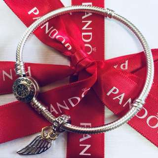 Pandora Angel Feather Wing Charm with Zirconia Stone Pendant Fitted to Necklace and Bangle Italy Gold