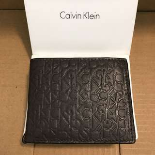 😍Calvin Klein散銀位😍Men's Leather Wallet Brown 深啡色真皮銀包