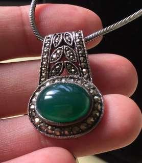 綠瑪瑙鑲金剛石銀墜