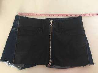 炎夏必備 超靚 黑色仿皮 深藍 二色拼布 雙拉鍊 純綿 韓國製 牛仔短褲