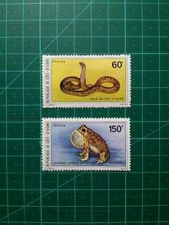 1980 象牙海岸 兩棲及爬行動物 新票一套