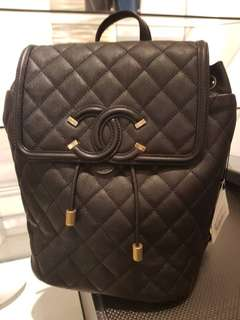 Chanel backpack Black Caviar gold hardware