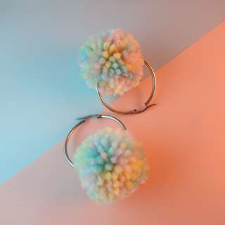 Pastel Pompom earrings in Unicorn Madness