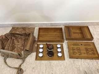 Rare Handmade Zisha tea pot bamboo box set 手拉坯宜興茶壼竹茶盤套