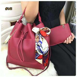 PROMO BESTSELLER Tas Fsshion Wanita Murah Shoulder Sling Bag Set 2in1 Quality Semi Premium Best Seller #141
