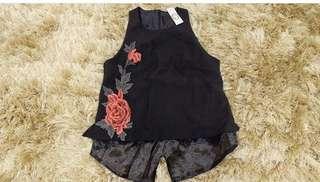 Black flower blouse