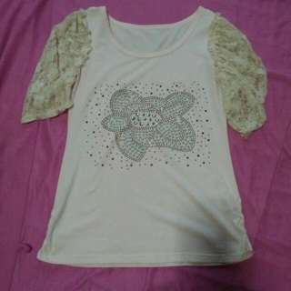 CLEARANCE SALE! Baby Pink Laced Sleeves Top
