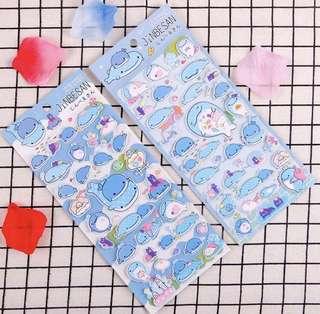 San x jinbesan whale shark puffy Stickers