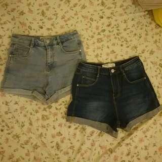 Zara 超百搭顯瘦反折卷邊彈性丹寧牛仔短褲