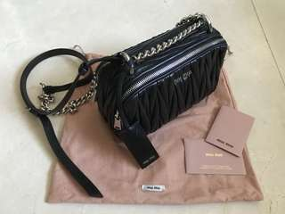 Miu Miu Black Matelasse Camera Bag, double zip, chain shoulder strap