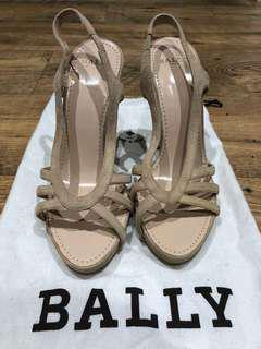 Bally peep top Heels - Cream suede