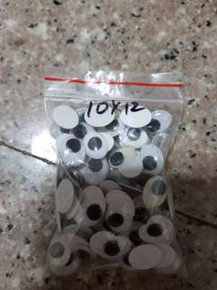 10 pairs Googly Eyes 10x12 mm (box E4)