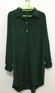 F21 Long Button-Down Blouse