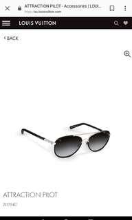 LV Louis Vuitton authentic attraction pilot sunglasses