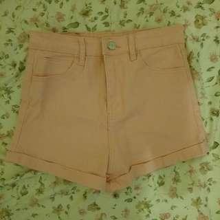 韓系高腰糖果色單釦下襬卷邊反折彈性牛仔短褲 粉色