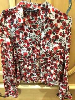 ZARA red flower blouse