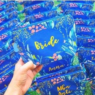 CUSTOM CANVAS POUCH blue floral teambride