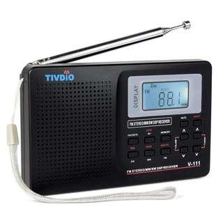 962. Tivdio V-111 Portable Radio AM/FM/SW DSP Shortwave Radio Battery Powered World Band Radio Pocket Travel Transistor Radio Stereo Receiver with Digital Alarm Clock and Sleep Timer (Black)