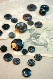 古董鈕釦lot(灰黑組)