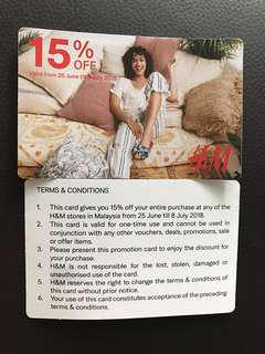 *Free postage* H&M Malaysia 15% Off Discount Card (2 pieces)