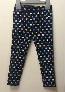 BNWT Navy-Blue Heart-Print Ponte Leggings - Size 3