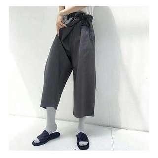 💮 斜搭式綁帶 西裝面料七分褲