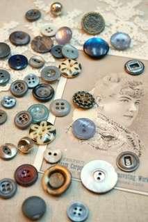 古董鈕釦lot(灰藍組)